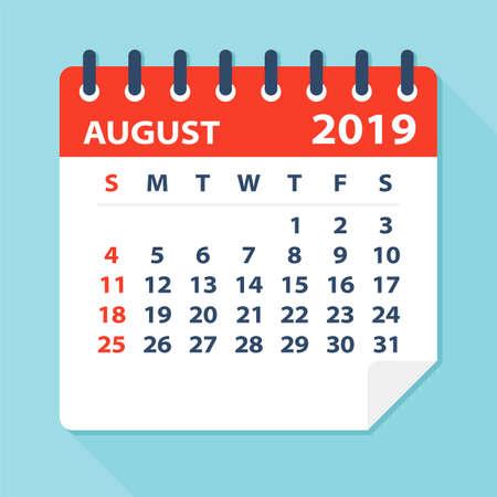 August 2019 Calendar Leaf - Illustration. Vector graphic page Illustration