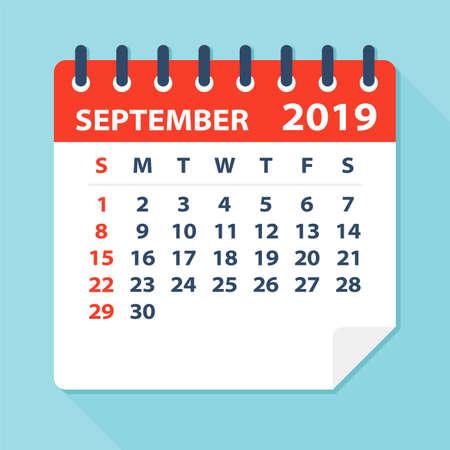 September 2019 Calendar Leaf - Illustration. Vector graphic page