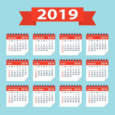 2019 year Calendar Leaves Flat Set - Illustration. All monthes Ilustração