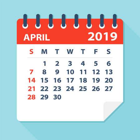 April 2019 Calendar Leaf - Illustration. Vector graphic page