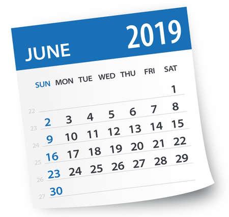 Hoja de calendario de junio de 2019 - Ilustración. Página de gráficos vectoriales