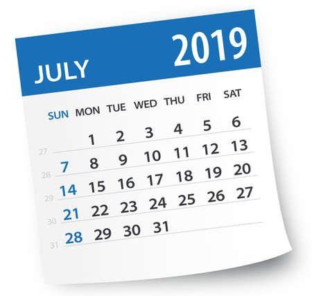 Hoja de calendario de julio de 2019 - Ilustración. Página de gráficos vectoriales