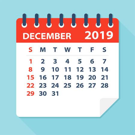 December 2019 Calendar Leaf - Illustration. Vector graphic page Illustration