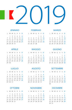 Calendar 2019 year - vector illustration. Italian version