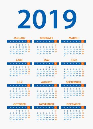 Calendar 2019 year - vector illustration. Week starts on Monday Çizim
