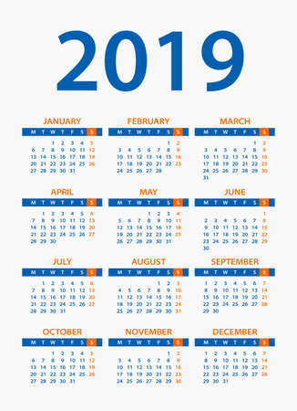 Calendar 2019 year - vector illustration. Week starts on Monday Illustration