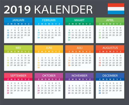 Calendar 2019 - Dutch version - vector illustration