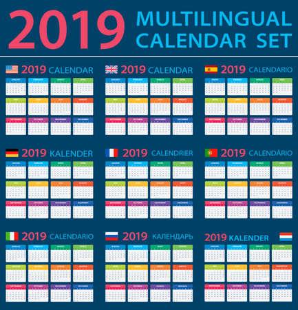 Calendar 2019 Set - English, American, Spanish, German, Portuguese, French Italian Russian Dutch - vector illustration