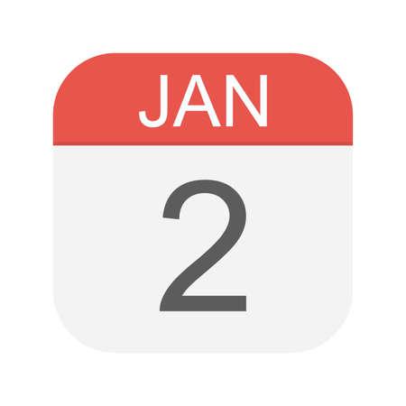 January 2 - Calendar Icon - Vector Illustration Ilustração