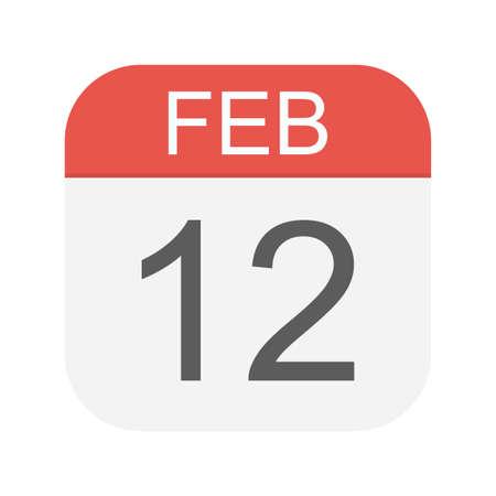 February 12 - Calendar Icon - Vector Illustration