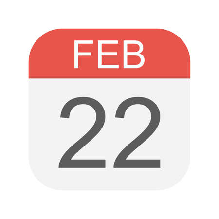 February 22 - Calendar Icon - Vector Illustration Illustration