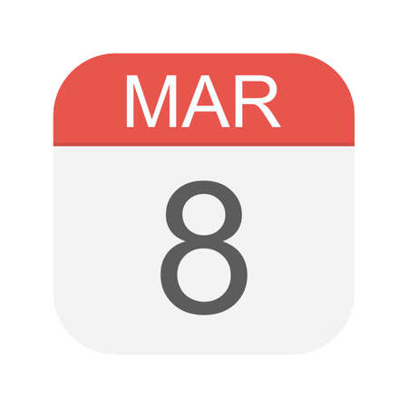 March 8 - Calendar Icon - Vector Illustration