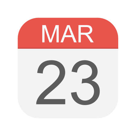 March 23 - Calendar Icon - Vector Illustration