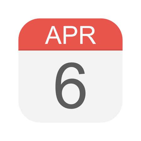 April 6 - Calendar Icon - Vector Illustration