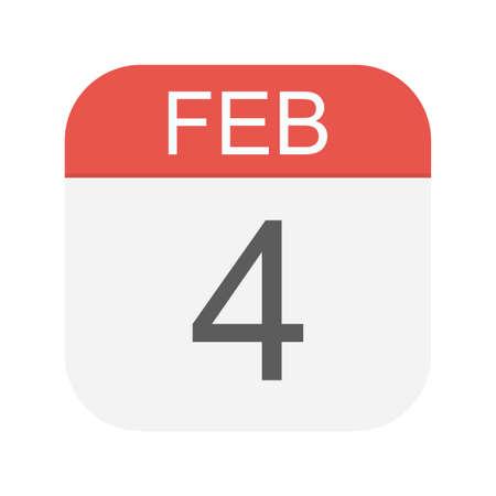 February 4 - Calendar Icon - Vector Illustration
