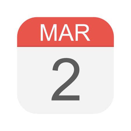 March 2 - Calendar Icon - Vector Illustration Иллюстрация