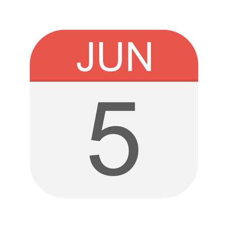 June 5 - Calendar Icon - Vector Illustration