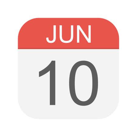 10 giugno - Icona Calendario - Illustrazione Vettoriale Vettoriali