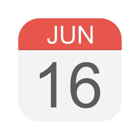 June 16 - Calendar Icon - Vector Illustration Ilustração