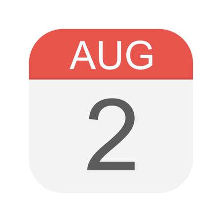 August 2 - Calendar Icon - Vector Illustration