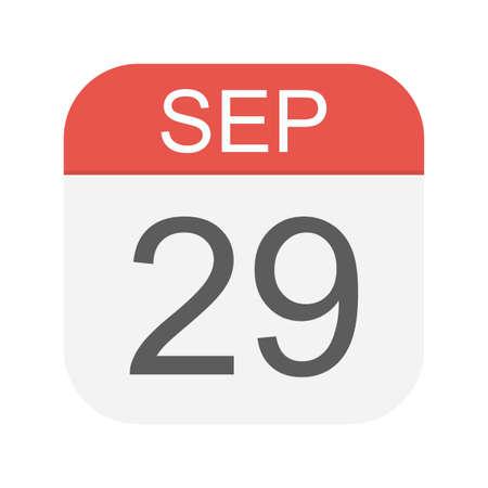 September 29 - Calendar Icon - Vector Illustration