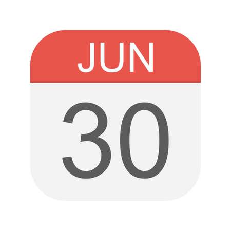 June 30 - Calendar Icon - Vector Illustration Illustration