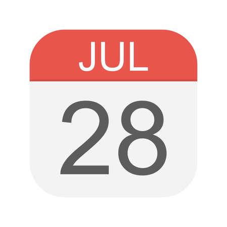 July 28 - Calendar Icon - Vector Illustration