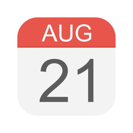 August 21 - Calendar Icon - Vector Illustration
