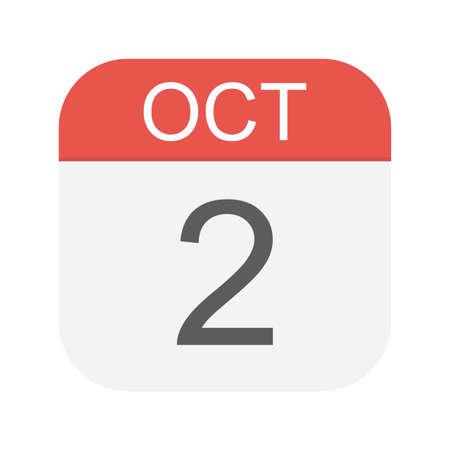 October 2 - Calendar Icon - Vector Illustration Illustration