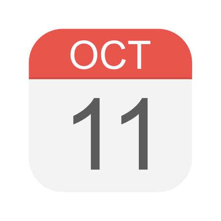 October 11 - Calendar Icon - Vector Illustration Ilustração