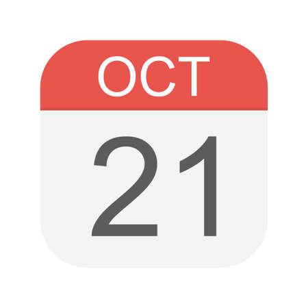 October 21 - Calendar Icon - Vector Illustration