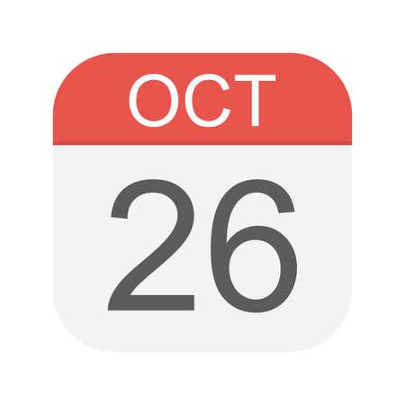 October 26 - Calendar Icon - Vector Illustration