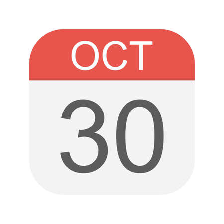 October 30 - Calendar Icon - Vector Illustration