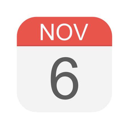 November 6 - Calendar Icon - Vector Illustration Ilustração