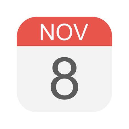 November 8 - Calendar Icon - Vector Illustration