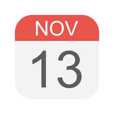 November 13 - Calendar Icon - Vector Illustration Ilustração