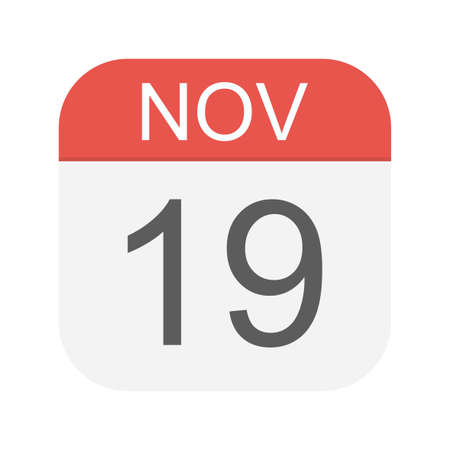 November 19 - Calendar Icon - Vector Illustration Çizim