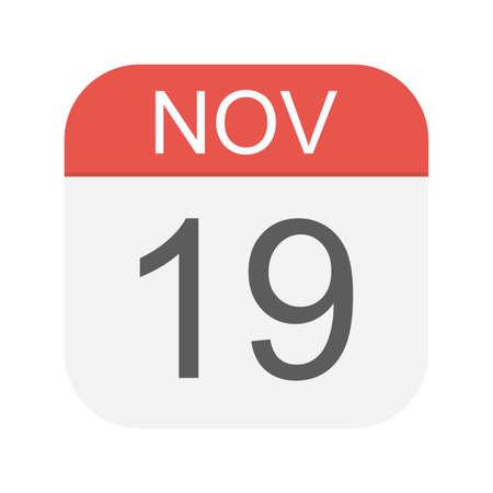 November 19 - Calendar Icon - Vector Illustration Illustration