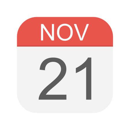 21 novembre - Icône de calendrier - Illustration vectorielle Vecteurs