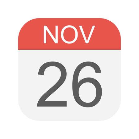 November 26 - Calendar Icon - Vector Illustration