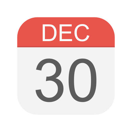 December 30 - Calendar Icon - Vector Illustration
