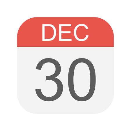 December 30 - Calendar Icon - Vector Illustration