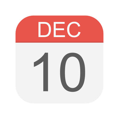 December 10 - Calendar Icon - Vector Illustration