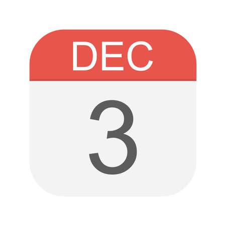 December 3- Calendar Icon - Vector Illustration