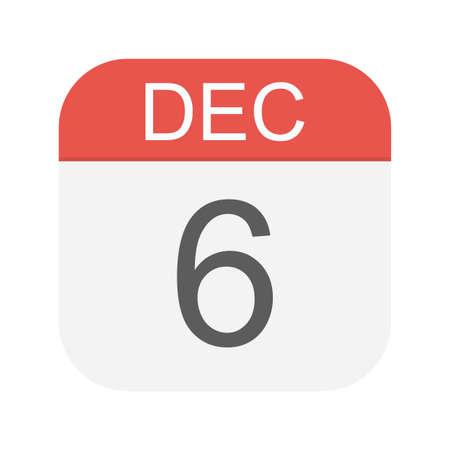 December 6- Calendar Icon - Vector Illustration  イラスト・ベクター素材