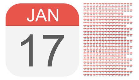 1 de enero - 31 de diciembre: iconos de calendario. Todos los dias del año. Ilustración vectorial