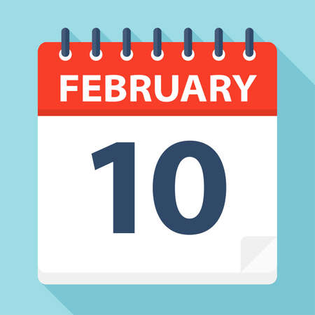 February 10 - Calendar Icon - Vector Illustration Ilustração