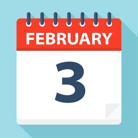 February 3 - Calendar Icon - Vector Illustration Ilustração