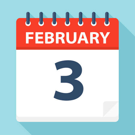February 3 - Calendar Icon - Vector Illustration Illustration