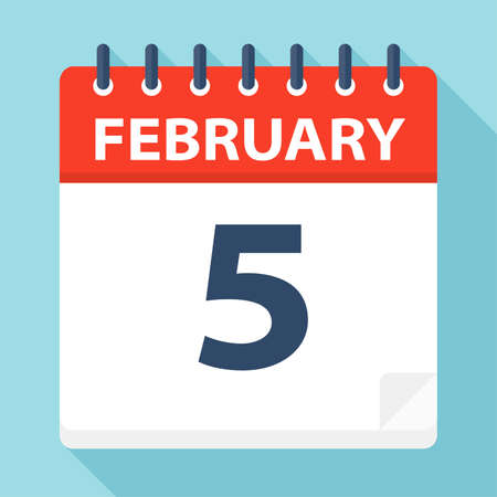 February 5 - Calendar Icon - Vector Illustration
